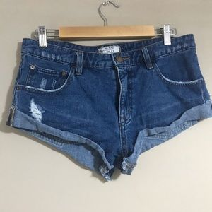 Free People Shorts Cut Off Denim Distressed 27